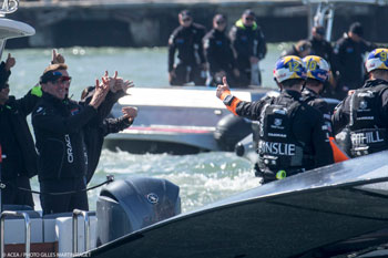 Sept. 24: Larry Ellison applauds his team. Photocredit: Gilles Martin-Raget ©ACEA