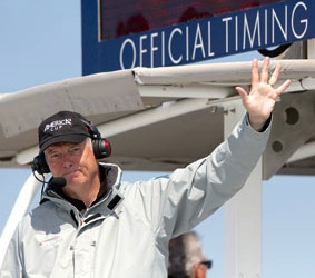 Gary Jobson, covering the 34th America's Cup from onboard the committee boat (photo credit: Steven Tsuchiya)